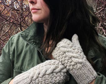 Cable Back Mittens