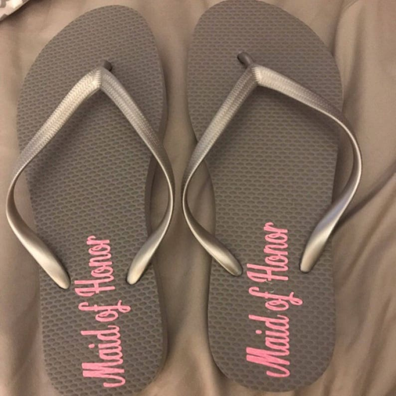 c362956838ed97 Bridesmaids Flip Flops Decals Maid of Honor Flipflops Bridal