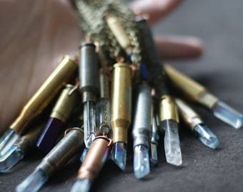 Quartz Crystal Bullet Casing Necklace