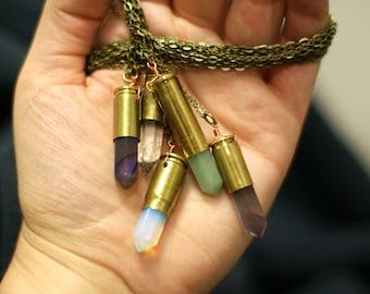 Crystal Bullet Casing Necklace