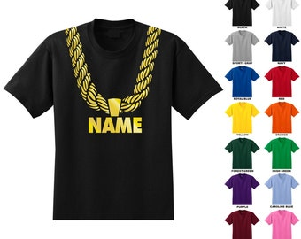0128a308 Custom personalized gold chain t-shirt adult, you choose the text, metallic  gold print hip hop funny