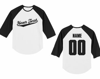 aeead64bd2139d Personalized custom choose your text name and number toddler raglan  baseball 3 4 length sleeve t-shirt