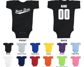 Personalized custom your text name and number infant baby one piece romper fbddf76ba