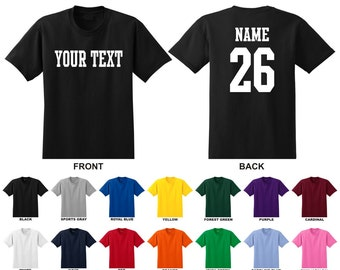 Personalized custom name and number t-shirt, you choose the text for the front and back, STRAIGHT TEXT,