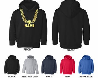 Personalized Custom Gold Chain Toddler Hooded Sweatshirt With Side-Seam Pockets, Choose Text For The Front Metallic Gold Print Hip Hop Funny