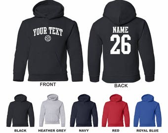 Volleyball Custom Hooded Sweatshirt Personalized Name and # 906wLsmln