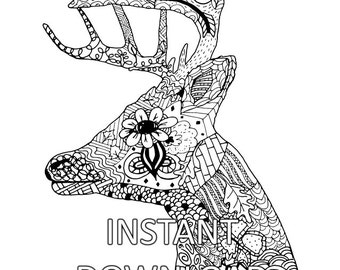 Coloring Page Sheet Deer Head Animal Adult Hand Drawn Printable