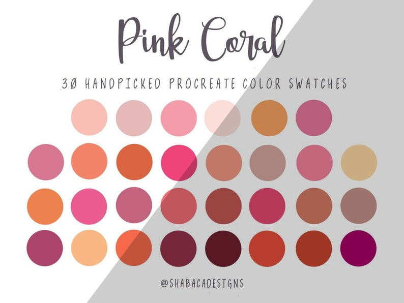 Pink Coral Procreate Color Palette 30 Orange Coral Pink Color image 0