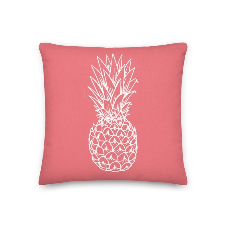 Pineapple Pink Coral Throw Pillow Cover Insert Tropical Beach image 0