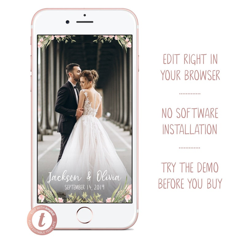 Floral Wedding Snapchat Filter Personalized Flower Geofilter image 0