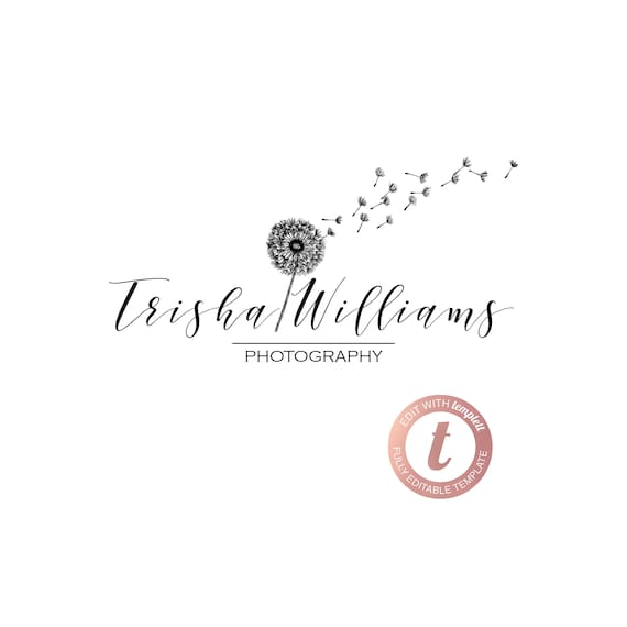 Pre Made Editable Logo Template Photo Watermark Dandelion