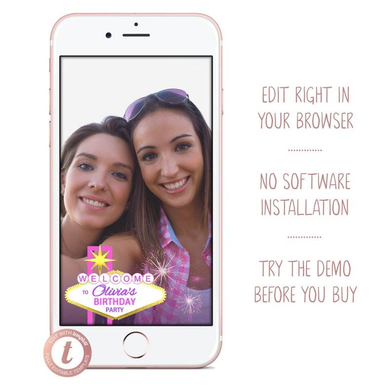 Las Vegas Birthday Party Snapchat Filter Girls Trip Pink Gold image 0