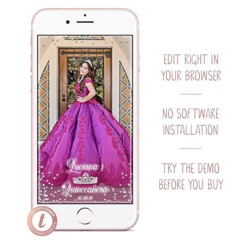 Quinceanera Snapchat Filter Custom 15 Birthday Quinceañera image 0