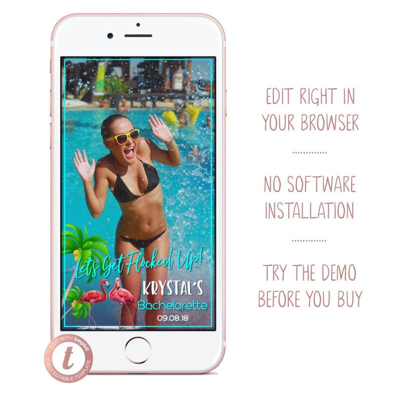 Lets Get Flocked Up Flamingo Bachelorette Snapchat Filter image 0