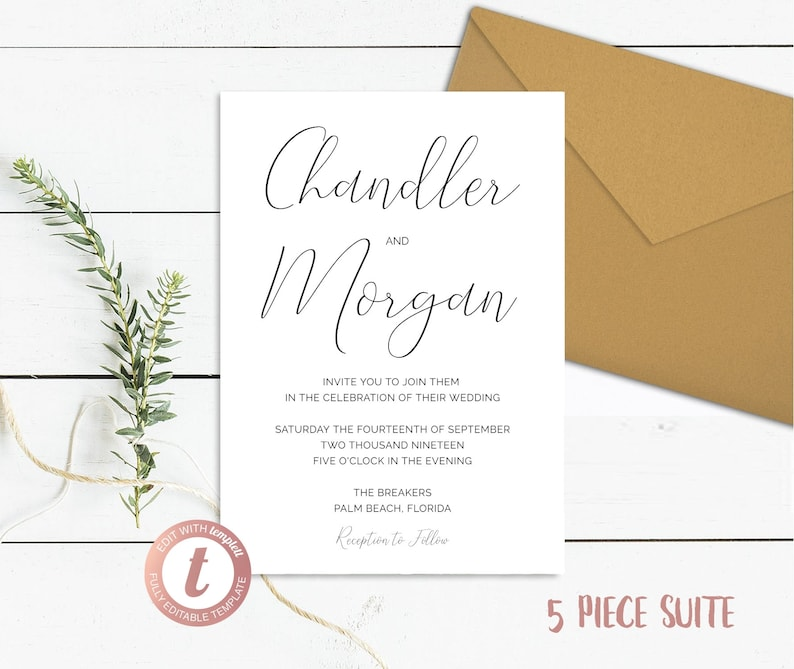 Simple Wedding Invitation 5 Piece Suite Minimal Save the Date image 0