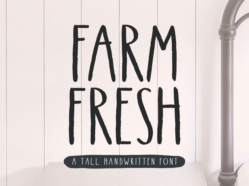 Farm Fresh Farmhouse Handwritten Rustic Font All Caps Cute image 0
