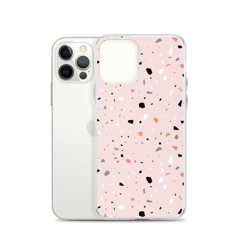 Aesthetic iPhone 12 Case Pink Terrazzo Cute Abstract Mosaic image 0