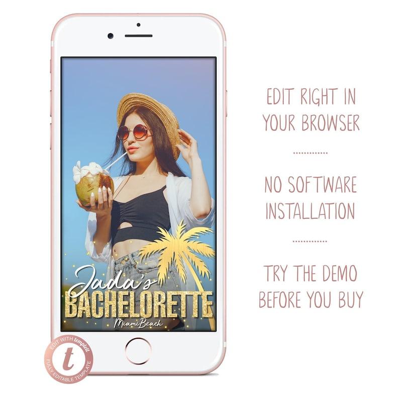Bachelorette Party Snapchat Filter Gold Glitter Palm Tree image 0