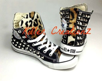 8c99d89933841 Custom Silver Studded Converse Chuck Taylors with Faux Leopard | Etsy