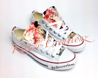 43fccfd2d521 Custom Converse low tops with floral print ANY SIZE
