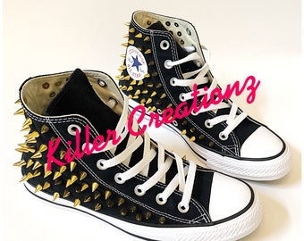 cd77db1fef1 Gold Spiked High Top Converse ANY SIZE/COLOR (made to order)