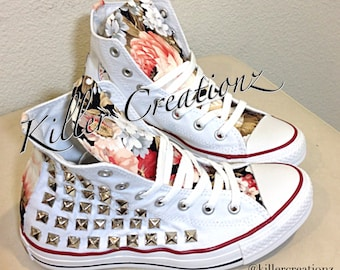 32737d77d243f Custom studded Converse Chuck Taylors with faux leopard fur | Etsy