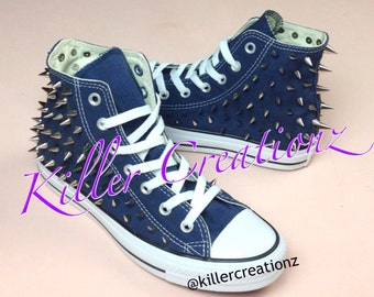 b03acab3327e Silver spiked High Top Converse ANY SIZE COLOR (made to order)