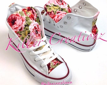 54b36d56e58 Custom Floral High Top Converse -made to order- any size