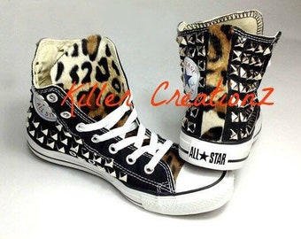 c7f170d1de10 Custom Converse Chuck Taylors studded on BOTH sides with faux leopard fur  -any size and color- (made to order)