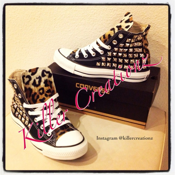 9a72ef8eea926 Custom Silver Studded Converse Chuck Taylors with Faux Leopard Fur ANY  SIZE/COLOR (made to order)