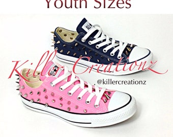 Silver spiked low top Converse YOUTH SIZES (made to order)