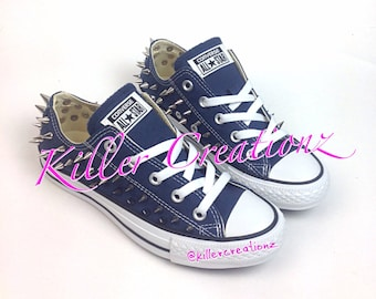 Silver spiked low top Converse ANY SIZE/COLOR (made to order)