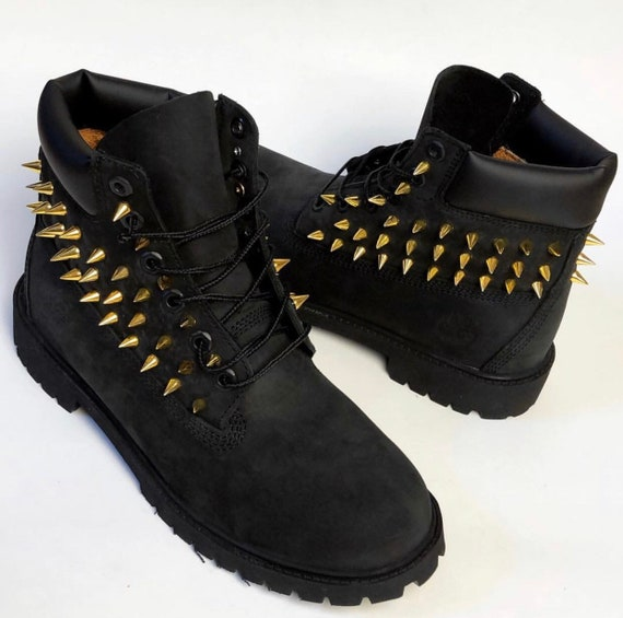 Custom spiked BLACK Timberland boots any size made to order