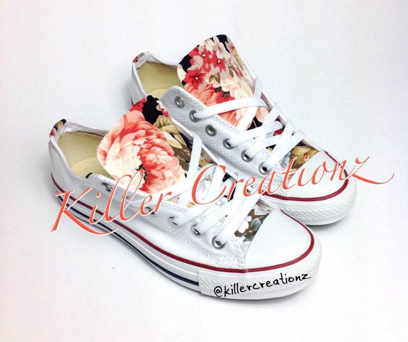 e78f799619ca Custom Converse low tops with floral print ANY SIZE