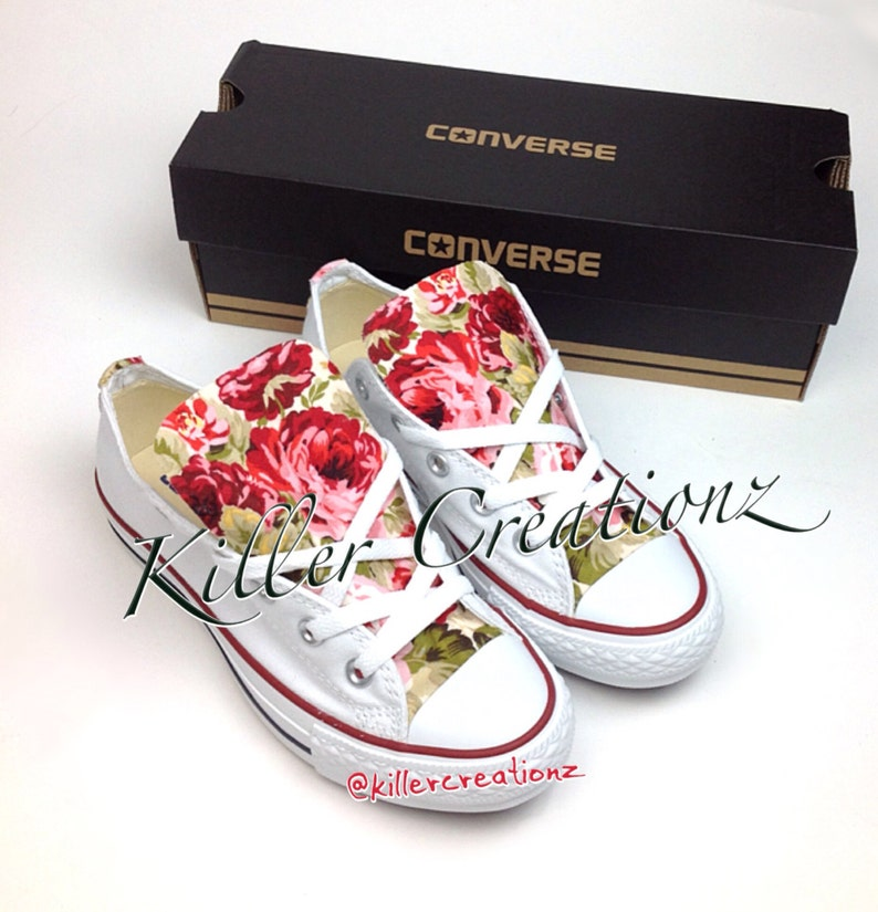 d7ad522f08fa Custom Converse low tops with floral print ANY SIZE