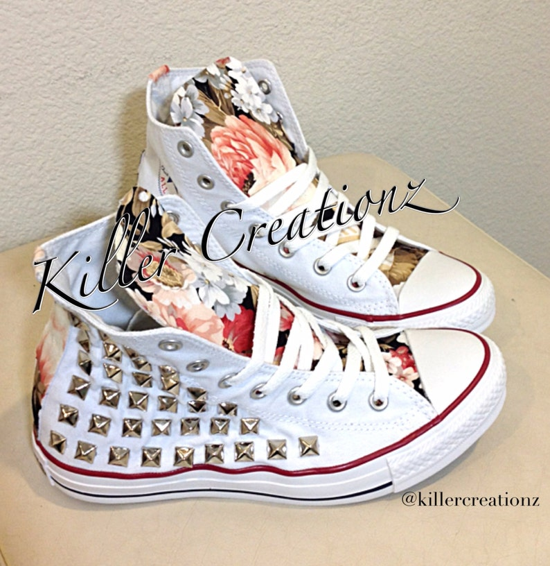 b382335ca339bf Custom studded Converse Chuck Taylors with floral design ANY