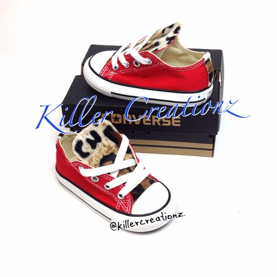 09163d8fa4696 Custom Converse low tops with leopard print INFANT/TODDLER SIZES made to  order