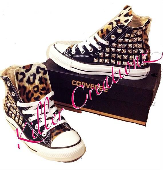 Custom Silver Studded Converse Chuck Taylors with Faux Leopard Fur ANY SIZECOLOR (made to order)