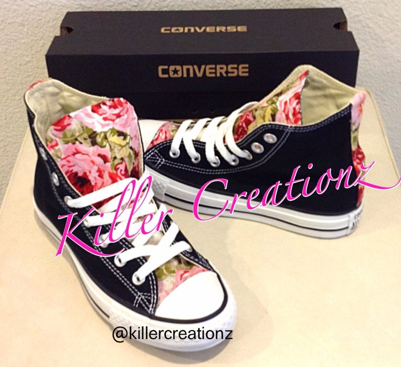 6a19e4dc2ef8 Custom Floral High Top Converse made to order any size