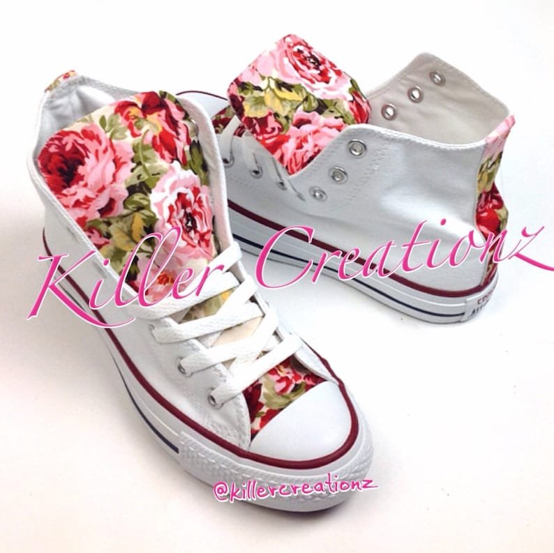 1de79fddbd8a Custom Floral High Top Converse made to order any size