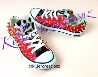 Custom Spiked Converse with leopard- made to order, any size