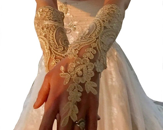 Long black, long ivory, long champagne gold,   Wedding gloves,  bridal fingerless glove,  lace arm warmers, cuffs lace,  gauntlets lace