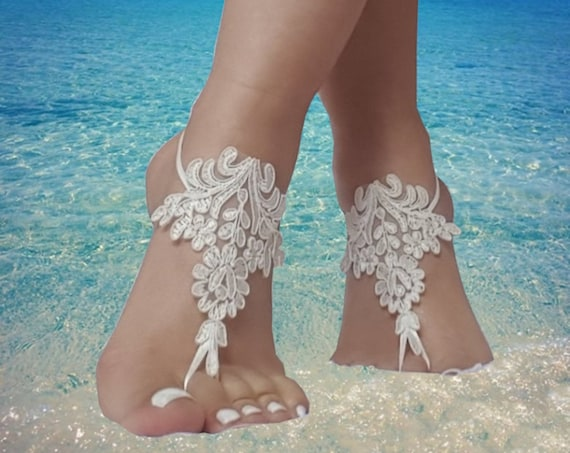 17 color, Beach wedding barefoot sandals, bridesmaid,  bridal beach shoes gothic beach accessory, steampunk, bellydance, beach wedding,