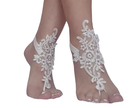 4 color, ivory  lace barefoot wedding barefoot sandals flexible wrist lace sandals Beach wedding barefoot sandals