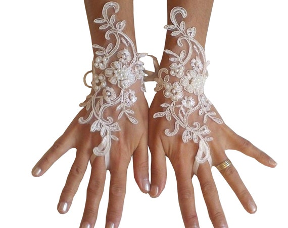 Lace gloves beaded pearls white or ivory lilac bridal gloves lace gloves fingerless gloves french lace gloves  lavender
