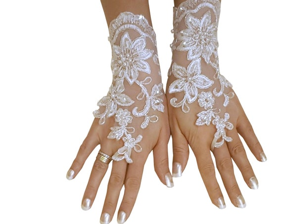 bridal glove, lace wedding glove, fingerless lace,  bridesmaid gift, brauthandschuhe, prom, party, anniversary, costume