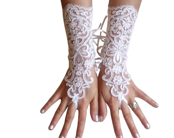 ivory lace fingerless gloves of lace fabric for bride