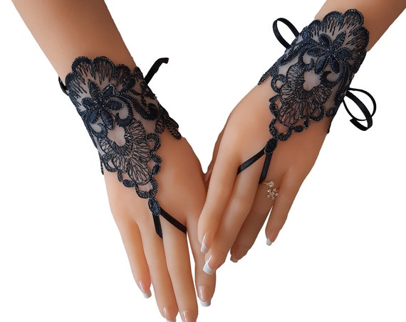 Smoked gray lace gloves bridal gloves fingerless gloves french lace   bridesmaid gift tea party gift for womens Gothic lace very dark  grey