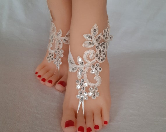 Beach wedding, ivory or white, barefoot sandals, beach shoe, bridal shoes, lace barefoot sandals, wedding, prom, party, lace anklet, sequin