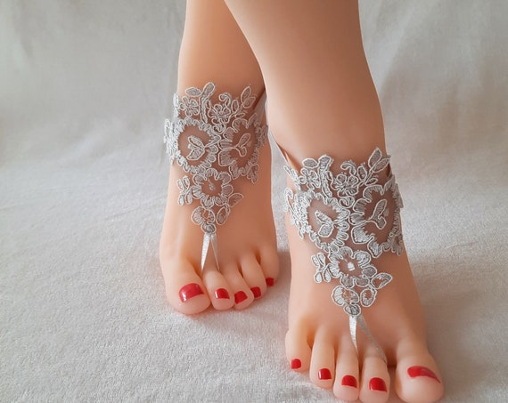 Lace barefoot sandals  gray grey barefoot sandals bridal lace shoes beach wedding accessories lace bangle lace anklet beach bridal